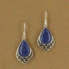 Sterling Silver Pear Lapis & Swirl Cut Out Dangle Earring $49.50 #jewelry