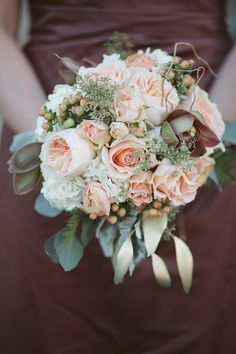 Caroline & Steve | Wedding in Tampa Bay |  Chocolate Orchid, Peach Roses and White Accent Bouquet. #andrealaynefloraldesign #tampaweddings