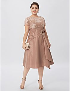 A-Line+Jewel+Neck+Knee+Length+Lace+Taffeta+Mother+of+the+Bride+Dress+with+Flower(s)+Side+Draping+by+LAN+TING+BRIDE®+–+CAD+$+349.91