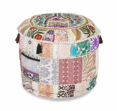 Indian Patchwork Round Ottoman Pouf Cover Floor Cushion Cover Floor Pillows Bohemian Vintage Pouffe Footstool Cover Bean Bag Sitting Pouf Pouf Ottoman, Ottoman Cover, Patchwork Patterns, Patchwork Designs, Handmade Ottomans, Indian Furniture, Round Pillow, Vintage Bohemian, Indian