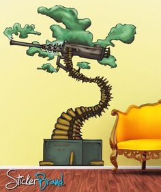 Graphic Wall Decal Sticker Abstract Bonsai Machine Gun #JH154 | Stickerbrand wall art decals, wall graphics and wall murals.