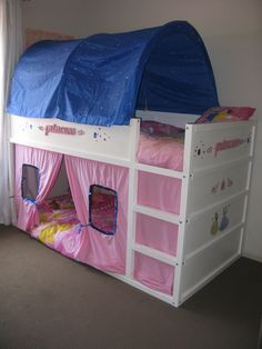 This is the makeover I did on the Ikea Kura bed for my 2 girls.