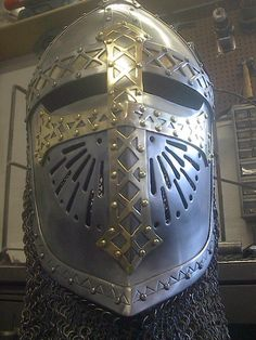 """""""This is an interpretation of an Italio-Norman spade faced phrygian helmet. It is severely modified in overall shape and design in order that it can pass inspection for SCA combat."""" Made by mattmaus @deviantART"""