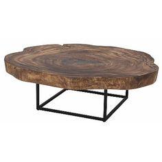 7600004/Trembesi Coffee Table Black Iron  Legs, Natural