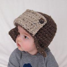 Baby Boy Crochet Hat Aviator Hat Infant Photo by BabyGraceHats, $26.00