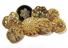 VINTAGE Rhinestone BUTTONS Eight 8 Assorted Gold Tone by punksrus
