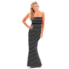 2-Pack: Nautical Strapless Lightweight Maxi Dress  - Tanga
