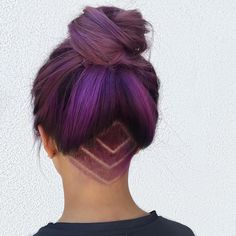 These Were the Best Hair Style Trends of 2016: purple hair top knot style with undercut design