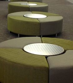 Circle ⭕️ seating modular cubes - curves bench style seating upholstered in fabric. Bench Stool, Ottoman Bench, Chair, Curved Bench, Creation Homes, Style Lounge, Home Comforts, Lounge Seating, Grey Fabric