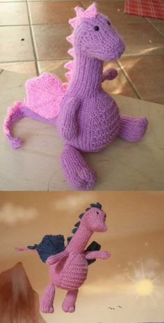 Free knitting pattern for an amigurumi dragon. Free knitting pattern for an amigurumi dragon. Always aspired to discover how to knit, although undecided how to start? Loom Knitting, Knitting Stitches, Free Knitting, Baby Knitting, Knitting Toys, Knitting Needles, Animal Knitting Patterns, Stuffed Animal Patterns, Crochet Patterns