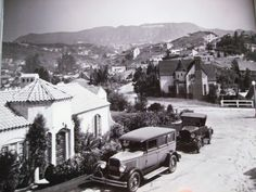 Hollywoodland -1930 vintage Los Angeles, old photo of a housing development atop Hollywood, California.