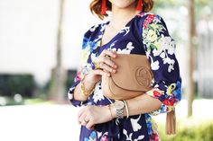 Blame it on Mei Miami Fashion Blogger 2016 Spring Outfit How to Style a Floral Romper Inspiration Idea Gucci Soho Crossbody Baublebar Tassel Earring YSL Arty Statement Ring Louboutin Nude Pumps Short Soft Waves