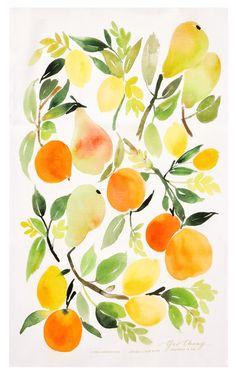 Citrus Composition Tea Towel