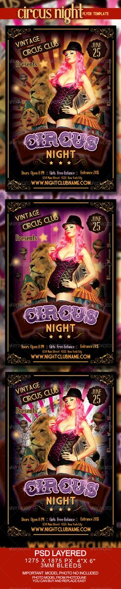 "Circus Night Party Flyer Template #GraphicRiver Circus Night Party Flyer Template is a retro and sexy psd flyer that will give the perfect promotion for your upcoming event or club parties. Disco, Club,... Multitude of colors, backgrounds and combinations !! PRINT READY - CMYK - 4 in x 6 in (pixels: 1275×1875 )& 6 in x 4 in - 0,25"" Bleeds - 300 dpi - Bleed, Cut, Safe Guides FONTS: Free Font TrajanusBricks by Manfred Klein img.dafont /dl/?f=trajanusbricks Free Font Medicine Show Caps by…"