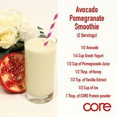 Core Protein Shake Recipe Avocado Pomegranate Smoothie #Mynt #Corein8