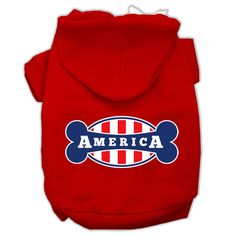 Bonely in America Screen Print Pet Hoodies Red Size XXXL (20)