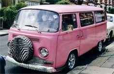 Pink Volkswagen with Zebra tire cover! Auto Volkswagen, Volkswagon Van, Volkswagen Bus, Vw Camper, Cadillac Eldorado, My Dream Car, Dream Cars, Vanz, Vw Vintage
