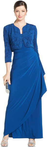 Alex Evenings Glitter Jacquard Draped Gown and Jacket in Blue Mob Dresses, Dresses For Work, Formal Dresses, Drape Gowns, Alex Evenings, Review Dresses, Blue Glitter, Jackets Online, Evening Gowns