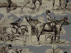 Double Width Horse & Hound Cotton Grey Curtain Fabric - The Millshop Online
