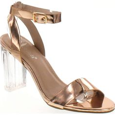 5ca81918239 Top Moda Women s Alma-70 Lucite Clear Strappy Block Chunky High Heel Open  Peep Toe