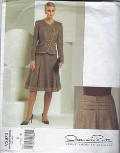 Excited to share the latest addition to my #etsy shop: Vogue Sewing Pattern American Designer V2870 Oscar de la Renta Jacket Skirt Size 12 14 16 Uncut Factory Folded 2000s http://etsy.me/2HeS2Nw #supplies #sewing #champagnevintagechic #voguesewingpattern #americandesig