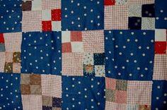 VIBRANT-Vintage-1900s-Double-4-Patch-Postage-Stamp-Antique-Quilt-Top-NICE-BLUE