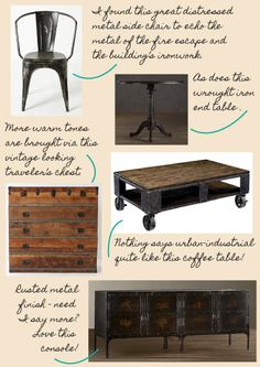 Urban industrial accent pieces.  Love the distressed side chair from Anthropologie.