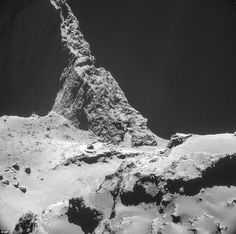 This picture shows the neck region of Comet 67P/Churyumov-Gerasimenko. It was captured around 4.8 miles (7.7km) from the surface of the comet