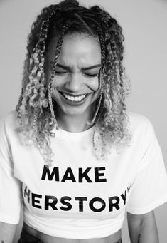 """This white tshirt features short sleeves, a front slogan in black text and relaxed fit. Between and we'll donate of gross profits from 'makeherstory' items to the """"Girls Out Loud Foundation"""" fund administered. Cami Crop Top, Crop Tops, How To Pose, Ladies Day, Plus Size Tops, Missguided, Girls Out, Women Empowerment, Feminism"""
