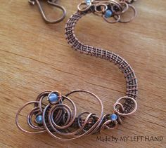 Copper Initial Pedant Necklace Wire Wrapped by MadeByMyLeftHand
