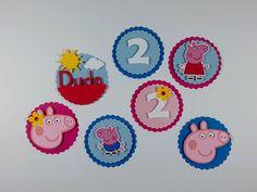 Aplicadas em latinhas,tubetes, garrafinhas, caixinhas ou sacolinhas, estas tags dão um toque especial à decoração. Personalizadas com nome ou idade do(a) aniversariante. Festa Peppa Pig.