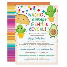 Nacho Average Gender Reveal - Virtual Baby Shower Invitation #GenderReveal #Pregnancy #Baby #Invitations