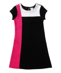 Look what I found on #zulily! Pink & Black Color Block Shift Dress - Girls #zulilyfinds