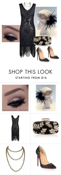 """Party III - costume party"" by sherilynslvn ❤ liked on Polyvore featuring Oscar de la Renta, Christian Louboutin, black, pearls, glamorous and Flapper"