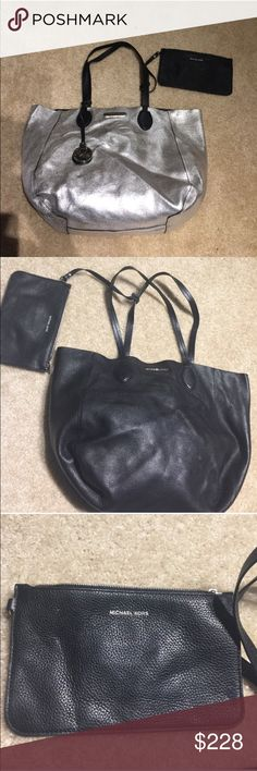 Michael Kors Reversible Silver/ black Large Bag Well preserved, straps are a little worn and have been repaired see pic 4 Michael Kors Bags