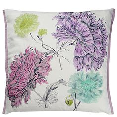 Sashiko Heather - Vivacious Linen And Silk Throw Pillow | Designers Guild USA