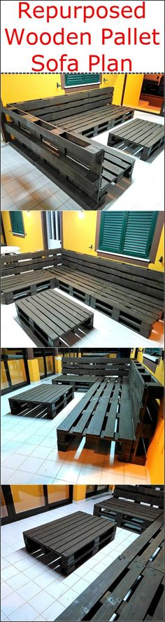 Wood Profits - repurposed-wooden-pallet-sofa-plan - Discover How You Can Start A Woodworking Business From Home Easily in 7 Days With NO Capital Needed! Pallet Patio Furniture, Pallet Sofa, Furniture Plans, Garden Furniture, Sofa Furniture, Garden Sofa, Repurposed Furniture, Furniture Projects, Rustic Furniture