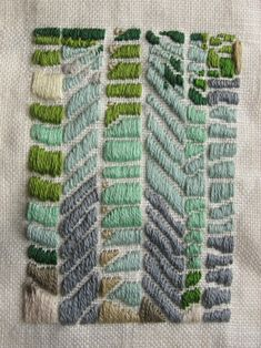 "|| ""Sous l'Escalier,"" by Margaret Hull, hand embroidery on found linen, 16 x 20 in, 2012"