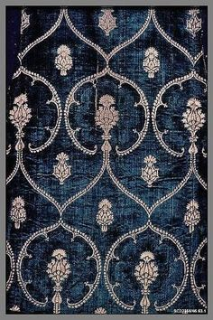 Date: late century Culture: Italian Medium: Silk and metal threads Dimensions: L. 43 x 37 inches x cm) Classification: Textiles-Velvets Credit Line: Rogers Fund, 1945 Accession Number: Motifs Textiles, Textile Patterns, Textile Design, Fabric Design, Pattern Design, Print Patterns, Floral Patterns, Vintage Patterns, Objets Antiques