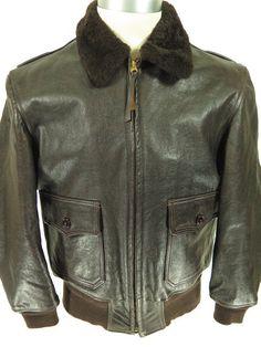 Vtg 40s WWII Aero Leather Flight Bomber M442A Jacket 46 Deadstock [closet G76Q 4lb 1oz]