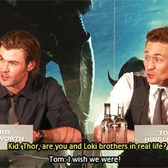 tom hiddleston and chris hemsworth bromance - Google Search
