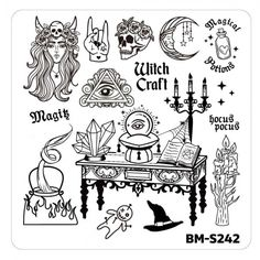 Halloween Nail Stamp Plates - House of Horrors, It. Halloween Nail Stamp Plates – House of Horrors, It& Witch Craft Nail Stamping Designs, Nail Stamping Plates, Bullet Journal Halloween, Witch Nails, Ball Drawing, Nail Plate, Fantasy Drawings, Cat Nails, Horror House