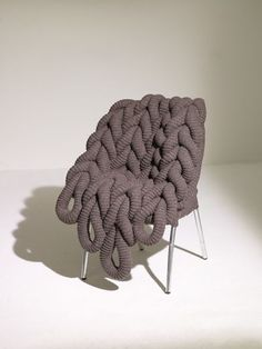 Modern Furniture Design by ClaireAnne OBrien Designer Chairs and Stools with Knitted Cushions Cool Furniture, Modern Furniture, Furniture Design, Modern Chairs, Ana Kraft, Textiles, Giant Knitting, Cotton Cord, Rowan Yarn
