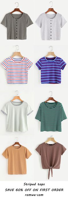 Simple Striped Tops 2017 - romwe.com