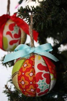 DIY Ornament / Supplies: styrafoam balls, fabric fat qtrs. and a utility knife.  Tutorial @ everyday beautiful