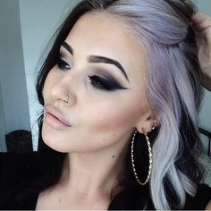 Makeup and two tone lilac hair