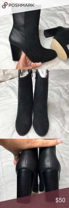 Black leather booties These never worn black booties are perfect for the fall and winter. They are so comfortable, and very stylish. Half leather, half suede. JustFab Shoes Ankle Boots & Booties