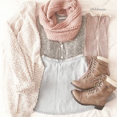 Cute and girly winter outfit with the grey knit top, light blue skirt, frilly over the knee socks, thick creme cardigan, lace up brown combat boots and light pink knit infinity scarf.