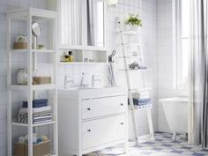 Open Shelving in Airy, White Bathroom