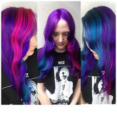 This is what I\'m gonna call  MENAGE A TROIS  Rock this look 3 WAYS!!!!! Depending on how you part your hair ❤️❤️❤️ #PASTELHAIR #mermaidhair #unicornhair #behindthechair #brazilianbondbuilder #btconeshot_color16 #btc_haircolor16 #btconeshot_rainbow16 #cynthialumzy #protectivehairstyles #thecutlife #themainchoice #mobhair #legionofglam #chicagohair #chicagohairstylist #purplehair #pinkhair #tealhair #bluehair #instahair #inspirehairstyles #nothingbutpixies #imallaboutdahair #hotonbeauty #hdu